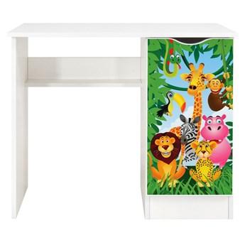 Białe biurko z szafką Roma /nadruk Zoo/