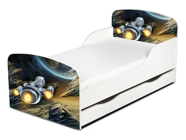 Drewniane łóżko z materacem i szufladą 140/70 cm Motyw: Intergalactic