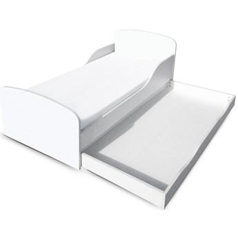 Białe łóżko drewniane z materacem i szufladą 140/70 cm