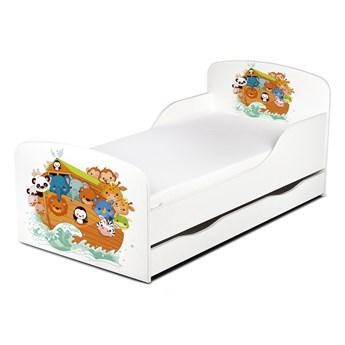 Drewniane łóżko z materacem i szufladą 140/70 cm Motyw: ARKA