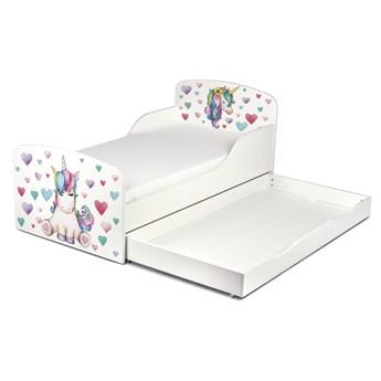 Drewniane łóżko z materacem i szufladą 140/70 cm Motyw: Jednorożec