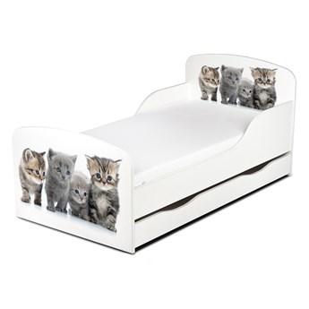 Drewniane łóżko z materacem i szufladą 140/70 cm Motyw: Kotki, kociaki..