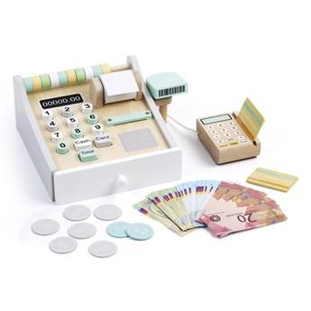Drewniana kasa z kalkulatorem i czytnikiem kart