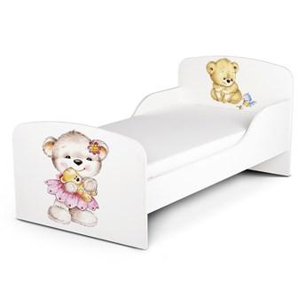 Białe łóżko drewniane z materacem 140/70 cm Motyw: Misie