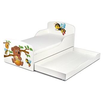 Drewniane łóżko z materacem i szufladą 140/70 cm Motyw: Miś i pszczółka