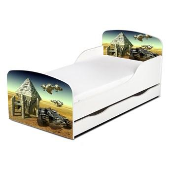 Drewniane łóżko z materacem i szufladą 140/70 cm Motyw: Kosmiczny Łazik