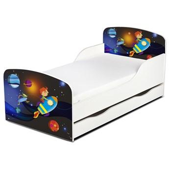 Drewniane łóżko z materacem i szufladą 140/70 cm Motyw: Rakieta Kosmiczna
