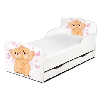 Drewniane łóżko z materacem i szufladą 140/70 cm Motyw: Misie