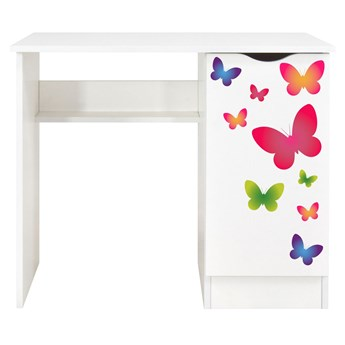 Białe biurko z szafką Roma /nadruk Motyle/