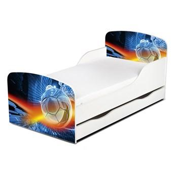 Drewniane łóżko z materacem i szufladą 140/70 cm Motyw: Football
