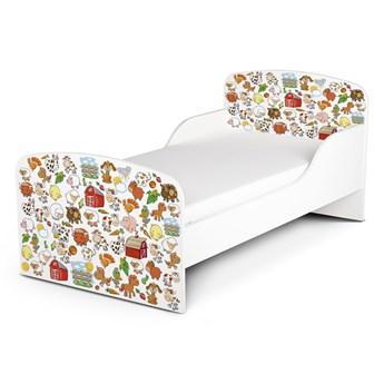 Białe łóżko drewniane z materacem 140/70 cm Motyw: Farma