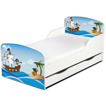 Drewniane łóżko z materacem i szufladą 140/70 cm Motyw: Wyspa Skarbów