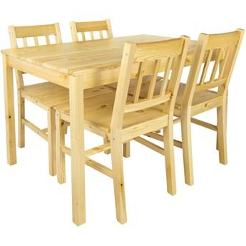 Zestaw: Stół i 4 krzesła do kuchni, jadalni, salonu - Pine