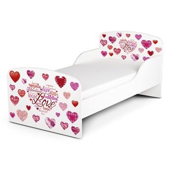 Białe łóżko drewniane z materacem 140/70 cm Motyw: Serduszka