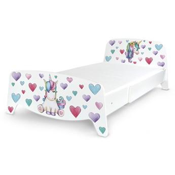 Łóżko segmentowe z regulacją długości Sofia + materac 140/90 Motyw: Jednorożec