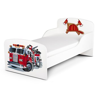 Białe łóżko drewniane z materacem 140/70 cm Motyw: Straż Pożarna