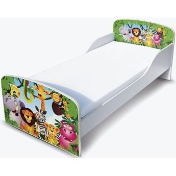 Białe łóżko drewniane z materacem 140/70 cm Motyw: Zwierzęta