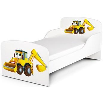 Białe łóżko drewniane z materacem 140/70 cm Motyw: Koparka