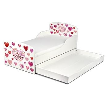 Drewniane łóżko z materacem i szufladą 140/70 cm Motyw: Serduszka
