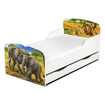 Drewniane łóżko z materacem i szufladą 140/70 cm Motyw: Słonie i Lwy