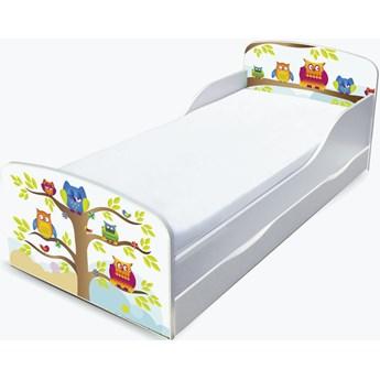 Drewniane łóżko z materacem i szufladą 140/70 cm Motyw: Sowy