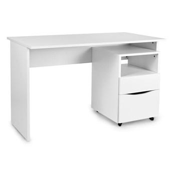 Zestaw: Białe biurko + szafka na kółkach
