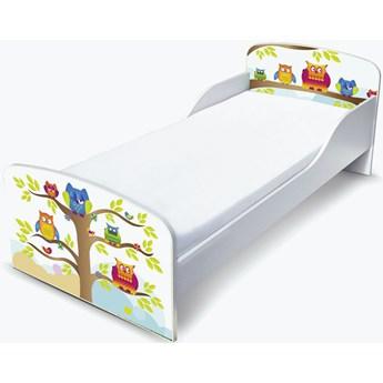 Białe łóżko drewniane z materacem 140/70 cm Motyw: Sowy