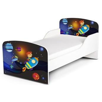 Białe łóżko drewniane z materacem 140/70 cm Motyw: Rakieta Kosmiczna