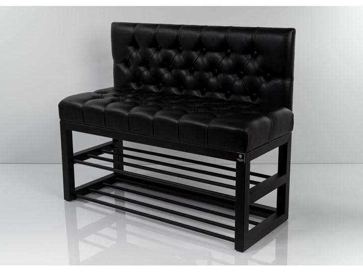 Ławka Metalowa z Oparciem Czarnym Pikowanym LMO-4 Pikowana Pomieszczenie Salon Materiał obicia Tkanina