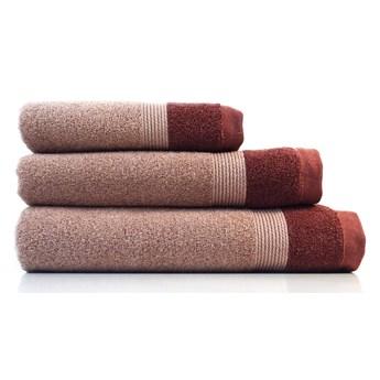 Zestaw 3 czerwonych bawełnianych ręczników Ethere Banda Vino