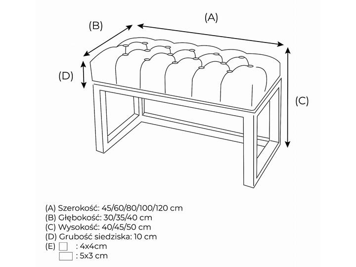 Ławka Pikowana Industrialna CLASSIC LOREN - LOFT Styl Nowoczesny Materiał obicia Tkanina