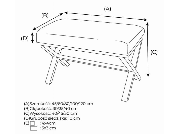 Ławka Tapicerowana Industrialna SHARP STYLE - LOFT Materiał obicia Skóra ekologiczna