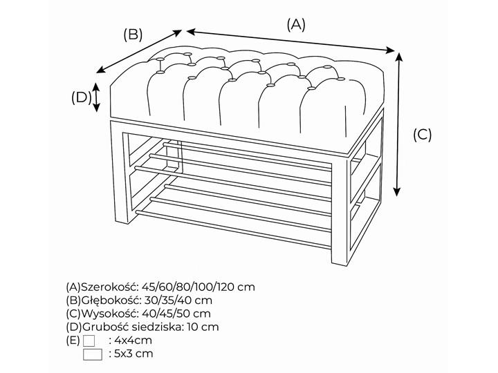 Ławka Pikowana do przedpokoju Industrialna SHELF LOREN - LOFT Materiał nóżek Metal Styl Industrialny