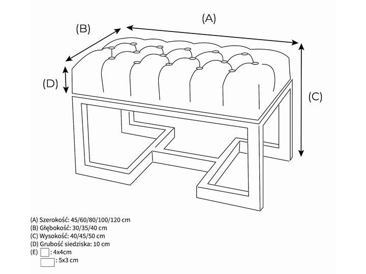 Ławka Pikowana Industrialna TWIN LOREN - LOFT Styl Minimalistyczny Styl Industrialny