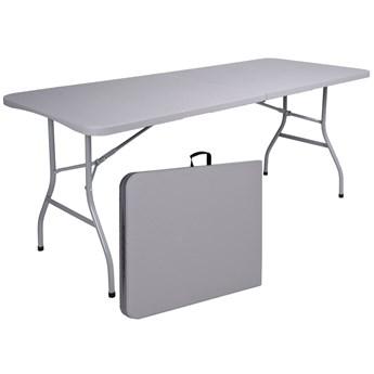 Stół bankietowy składany w walizkę RATTAN 180x74x74,5 szary