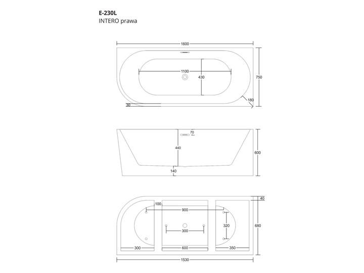 Wanna narożna do montażu przyściennego Corsan Intero prawa 160 cm z wykończeniem chrom Stal Akryl Kategoria Wanny