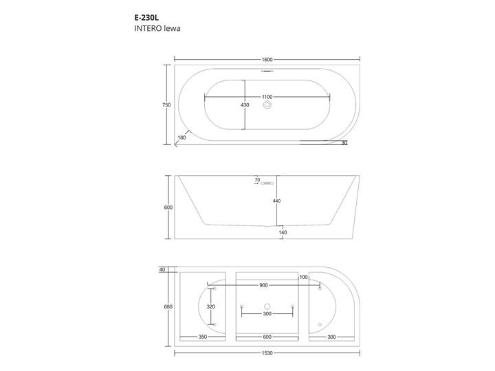 Wanna narożna do montażu przyściennego Corsan Intero lewa Stal Długość 160 cm Akryl Kategoria Wanny