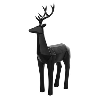 Figurka dekoracyjna renifer czarna żywica syntetyczna 40 x 24 cm geometryczna styl skandynawski