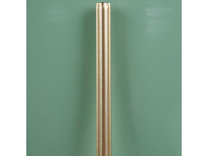 Doniczka na stojaku zielono-złota metalowa 16 x 16 x 31 cm kwietnik stojący stojak na kwiaty na ogród do salonu nowoczesny glamour Doniczka na kwiaty Kolor Zielony Kolor Złoty
