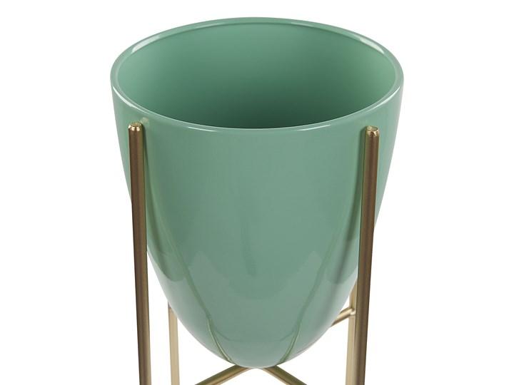Doniczka na stojaku zielono-złota metalowa 16 x 16 x 31 cm kwietnik stojący stojak na kwiaty na ogród do salonu nowoczesny glamour Kolor Zielony Doniczka na kwiaty Kolor Złoty