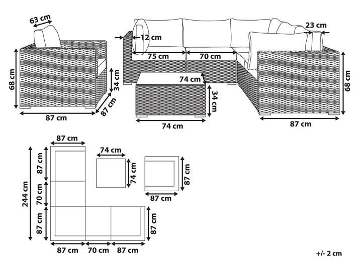 Zestaw mebli ogrodowych brązowy rattan szare poduchy modułowy narożnik fotel stolik kawowy Aluminium Zestawy modułowe Zestawy kawowe Technorattan Tworzywo sztuczne Zestawy wypoczynkowe Styl Nowoczesny