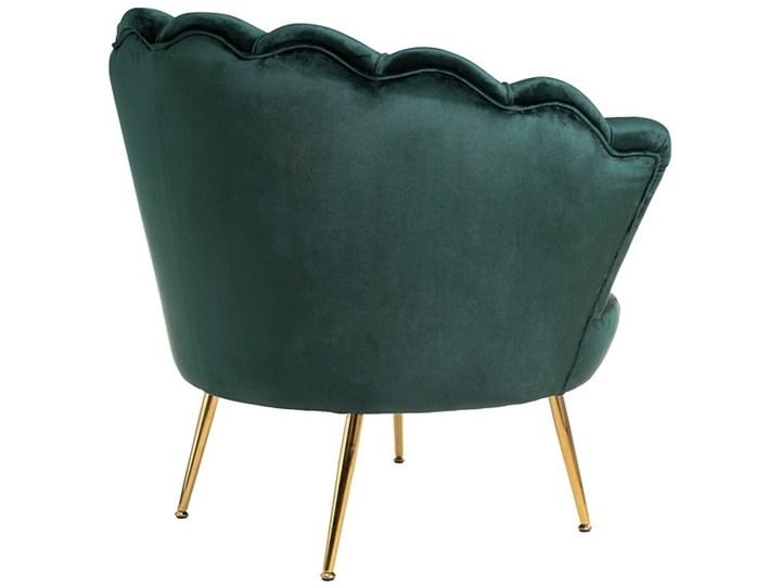 Muszelka fotel ciemnozielony - welur Tkanina Fotel pikowany Metal Fotel inspirowany Fotel muszelka Styl Nowoczesny