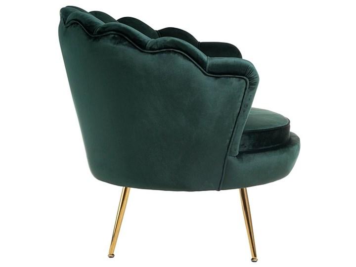 Muszelka fotel ciemnozielony - welur Metal Tkanina Fotel pikowany Fotel inspirowany Fotel muszelka Styl Nowoczesny