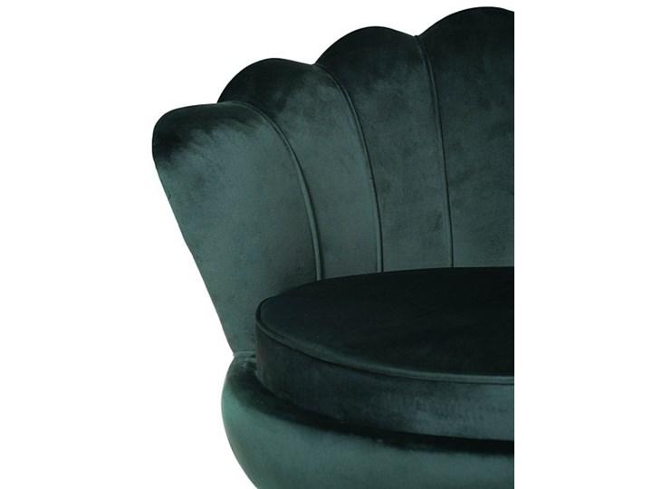 Muszelka fotel ciemnozielony - welur Tkanina Fotel inspirowany Fotel muszelka Fotel pikowany Metal Styl Nowoczesny