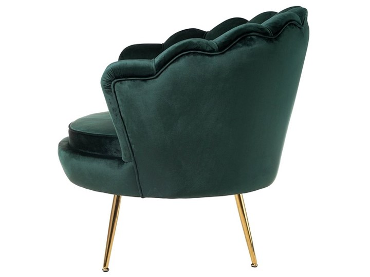 Muszelka fotel ciemnozielony - welur Fotel inspirowany Tkanina Fotel muszelka Metal Fotel pikowany Styl Nowoczesny