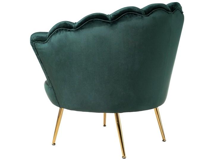 Muszelka fotel ciemnozielony - welur Metal Tkanina Fotel inspirowany Fotel muszelka Fotel pikowany Styl Nowoczesny