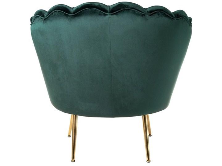 Muszelka fotel ciemnozielony - welur Styl Nowoczesny Fotel pikowany Fotel muszelka Tkanina Fotel inspirowany Metal Kategoria Fotele do salonu