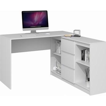Narożne biurko z komodą Play biały mat - Meb24.pl