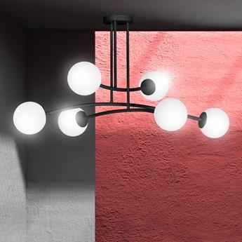 HALLDOR 6 BLACK 1024/6 oryginalna lampa sufitowa czarna LOFT szklane mleczne klosze