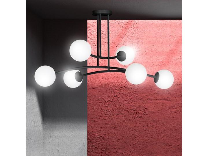 HALLDOR 6 BLACK 1024/6 oryginalna lampa sufitowa czarna LOFT szklane mleczne klosze Szkło Lampa z kloszem Metal Pomieszczenie Salon